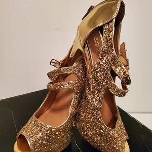 Gold sequin stilettos